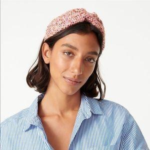 J. Crew Wide Knot Tweed Wool Headband Candy Pink